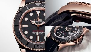 A chic, Sporty and Technical Watch Introducing Rolex is introducing a new black and 18 ct Everose gold version of its nautical Oyster Perpetual Yacht-Master, fitted exclusively with the innovative Oysterflex bracelet developed and patented by Rolex. This technical bracelet combines in a singular way the robustness and reliability of a metal bracelet with the flexibility, comfort and aesthetics of an elastomer strap. At its core lies a superelastic metal blade overmoulded with high-performance black elastomer. The new Yacht‑Master is offered in two sizes: 40 mm and a new 37 mm diameter.
